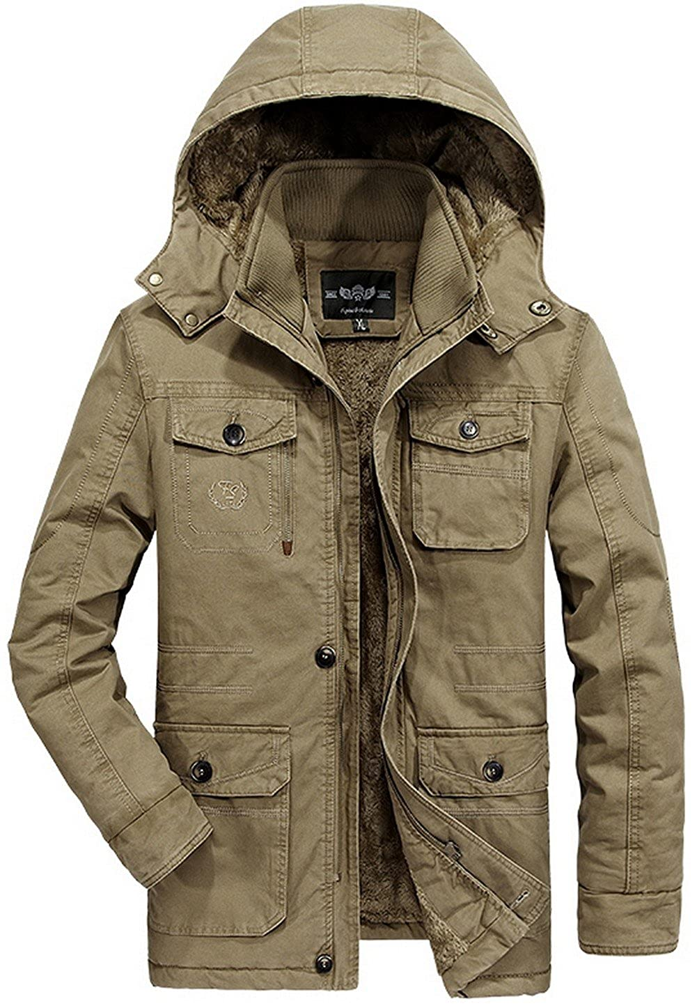 Men Winter Warm Fur Collar Hooded Thick Jacket Padded Coat Parka Faux Fur Lined JIAX