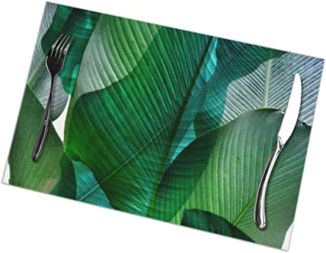 Amazon Com Palm Leaf Jungle Bali Banana Palm Frond Greens Pvc Placemat Weave Design Set Of 6 Heat Resistant Dining Table Place Mats For Kitchen Table 12 X 18 Inches Home Kitchen