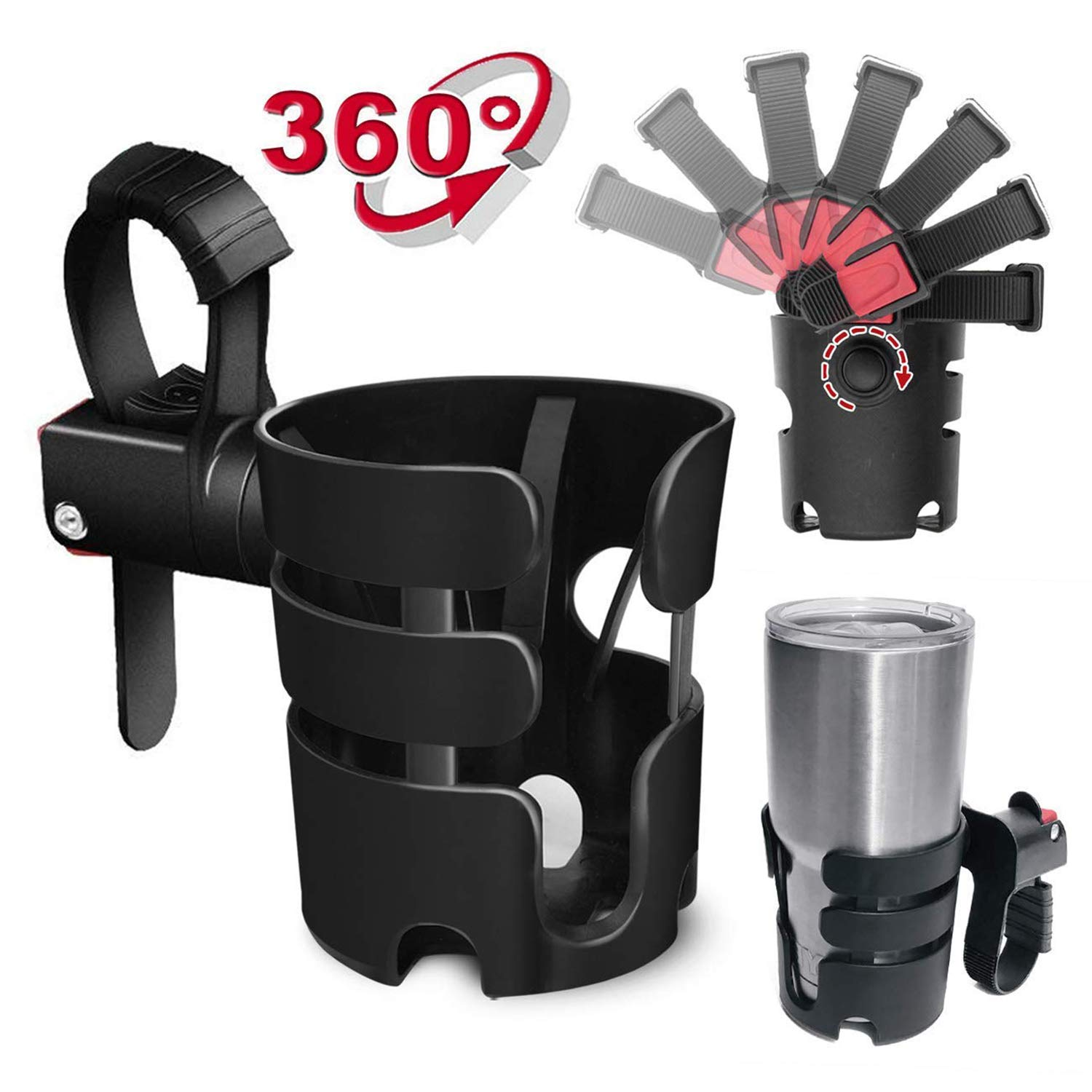 Universal Stroller Cup Holder, Fits Most Strollers/Wheelchairs/Rollators/Walkers/Bicycles/Carriage Accessory XaoRy