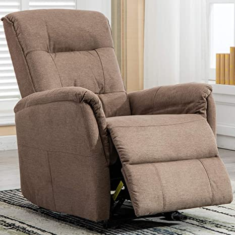 Recliner Living Room Chair,Traditional Fabric Single Seat Sofa Manual  Recliner Chair with Overstuffed Arms and Back