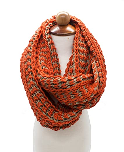 Stylesilove Women Tow Tone Knit Winter Infinity Scarf 2 Colors