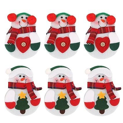Zogin 6pcs bolsas de decoración navideñas para cubiertos en la forma de muñeco de nieve
