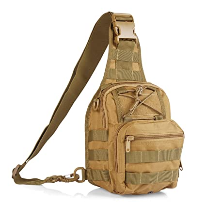 618fa5257b23 Roaring Fire Tactical Single Shoulder Bag, Crossbody Military Backpack,  Molle Assault Sling Backpack for EDC, Camping, Hiking, Trekking, Cycling,  and ...