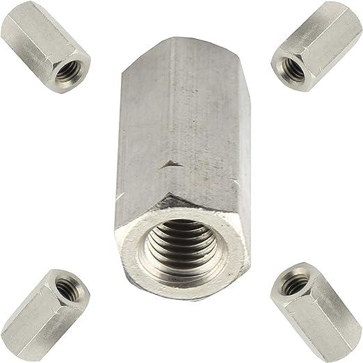 BiBa-Schrauben Gewindemuffen M30 x 60 sechskant SW46 10 St/ück Edelstahl A2 V2A VA Distanzmuttern Verbindungsmuttern Langmuttern
