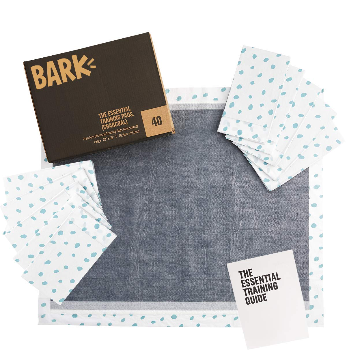 BarkBox Large/XL Puppy Training Pads, Ultra-Absorbant Activated Carbon Charcoal, Odor-Neutralizing 30 inches x 36 inches by BarkBox
