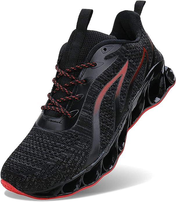 Jsleap Sneakers Herren Damen Unisex Schwarz/Rot