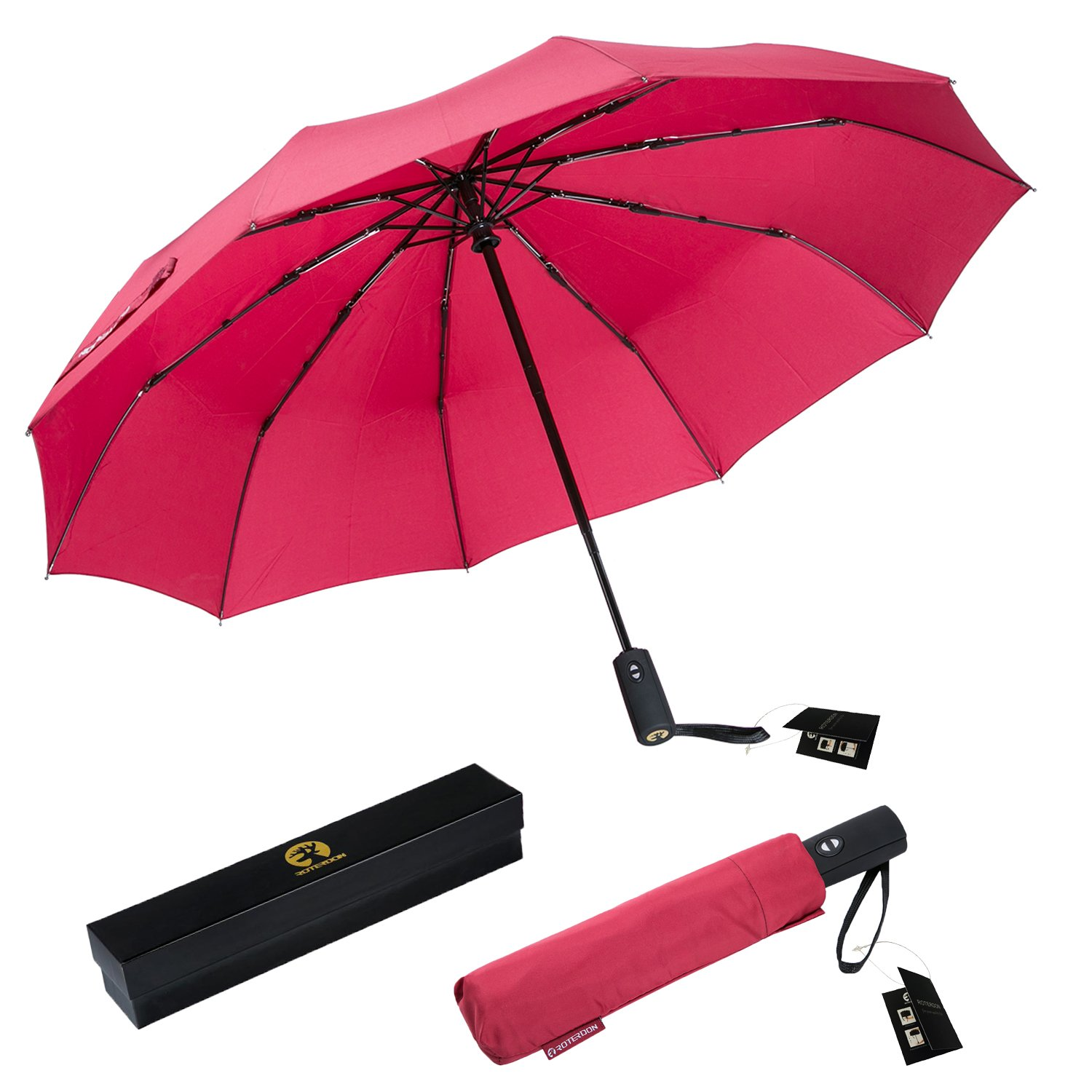 ROTERDON Windproof Travel Umbrella Folding - Small Compact Umbrella with Teflon Coating Auto Open/Close Reinforced Canopy Waterproof Pack for Luggage,Red by ROTERDON (Image #6)