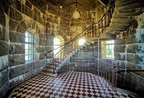 Leyiyi 10x8ft Abandoned Castle Backdrop Ancient Tower Interior Staircase  Arch Window Rustic Building Grunge Brick Wall