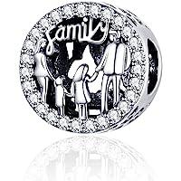 Annmors Charms Familia Abalorios Colgante de Cuentas Plata de Ley 925 con Compatible con Europeo Pulsera Collar,Charms…