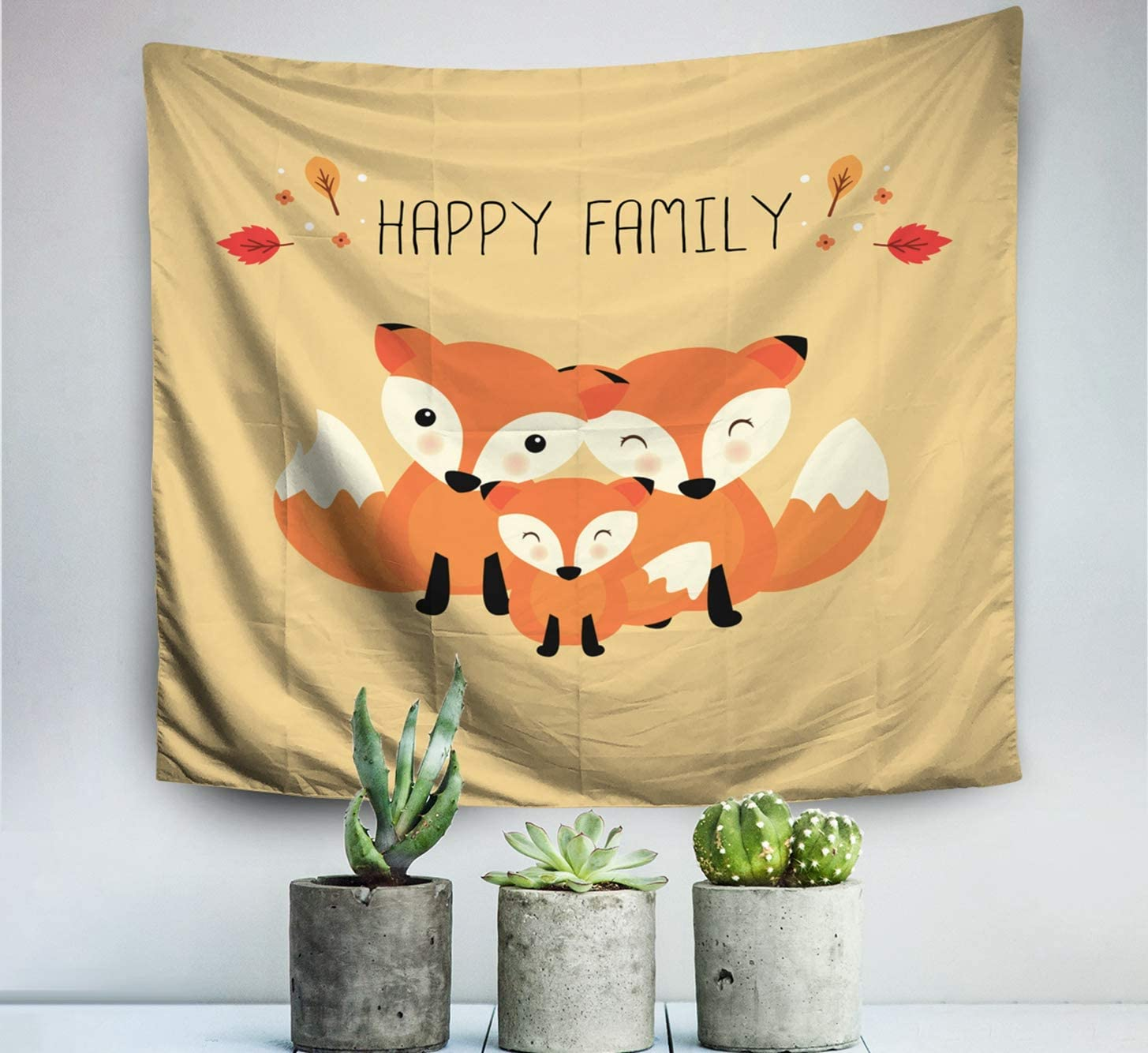 Shorping Hanging Wall Tapestry,Tapestry, 60x50 Inch Tapestries for Home and Bedroom Décor Happy Animal Family Dad mom Baby Foxes Cartoon