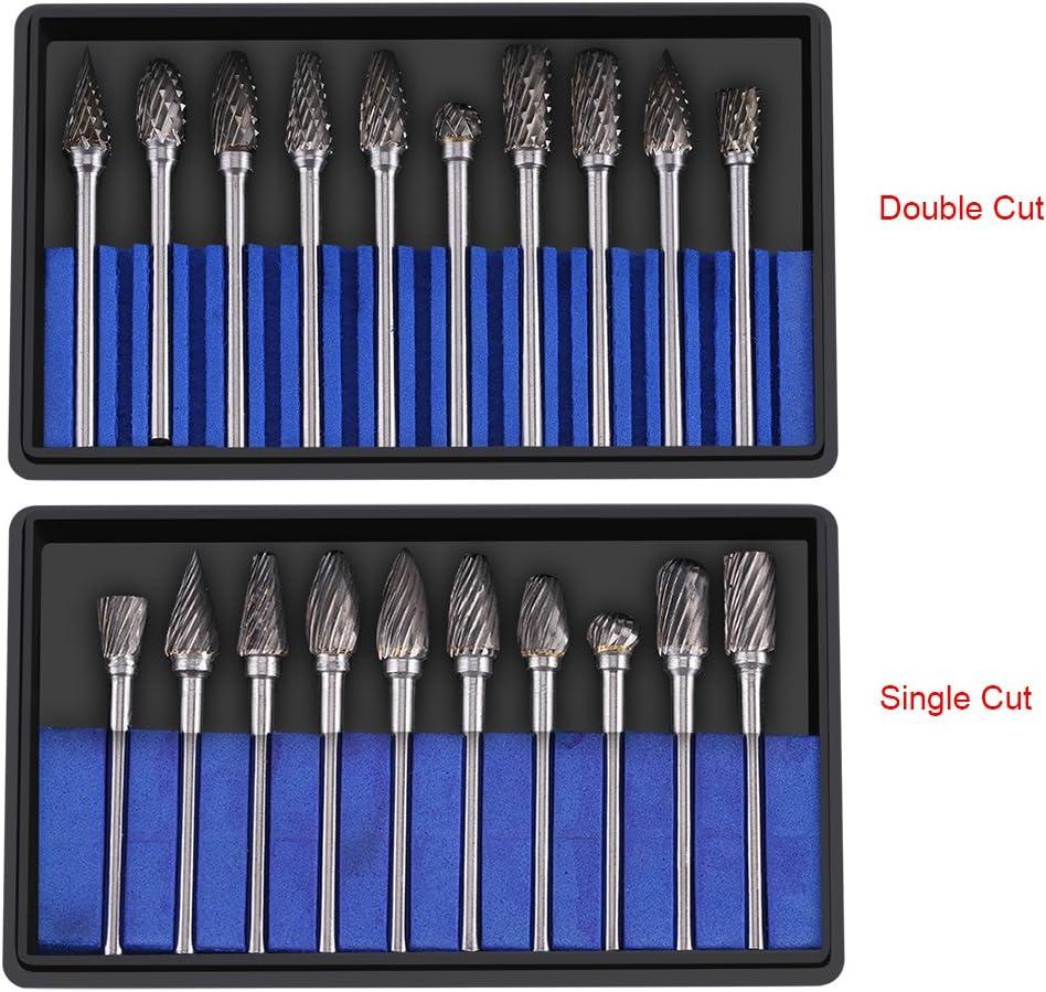 Double Coupe Fdit 10pcs in Acciaio al carburo di tungsteno Rotary File Burr Set 3mm Gambo 6mm Diametro Testa di Taglio
