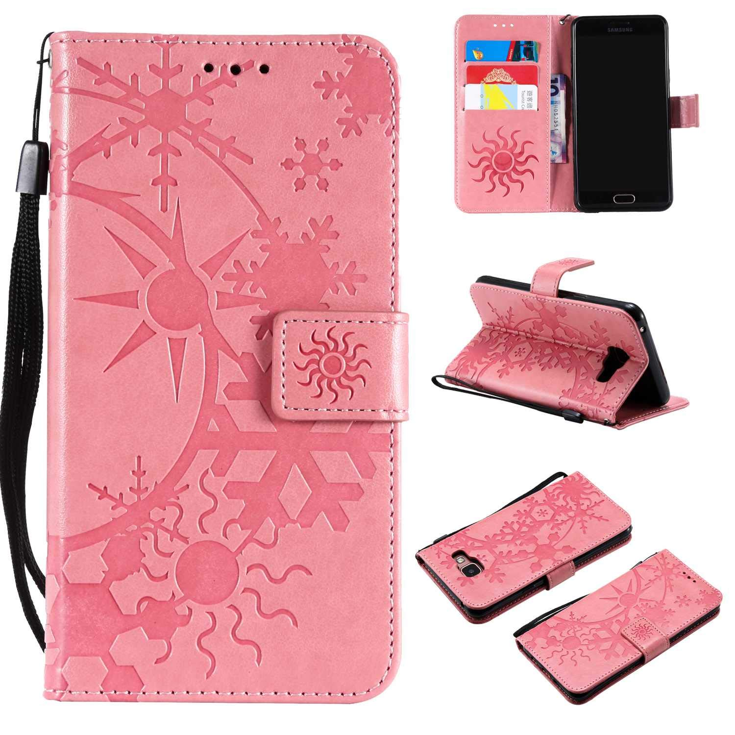 CUSKING Galaxy A5 2017 Leather Wallet Case with Card Holder and Stand Function, Magnetic Flip Folio Slime Protective Cover for Samsung Galaxy A5 2017 - Pink