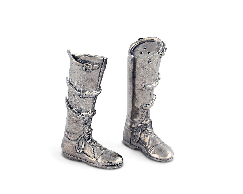 Vagabond House Pewter Equestrian Riding Boot Salt /& Pepper Shaker Set 3.75 Tall