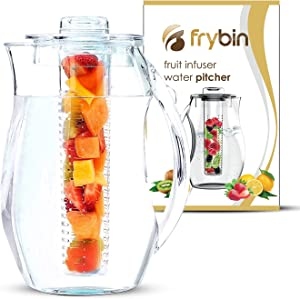 Water Pitcher Fruit Infuser With Lid for Flavored Water 2.9 Quart Bottle, Includes infuser rod and Ice Core Rod, BPA-Free Plastic, Great For Cold iced Tea, Fruit, Herbs, Sangria, Margarita FRYBIN