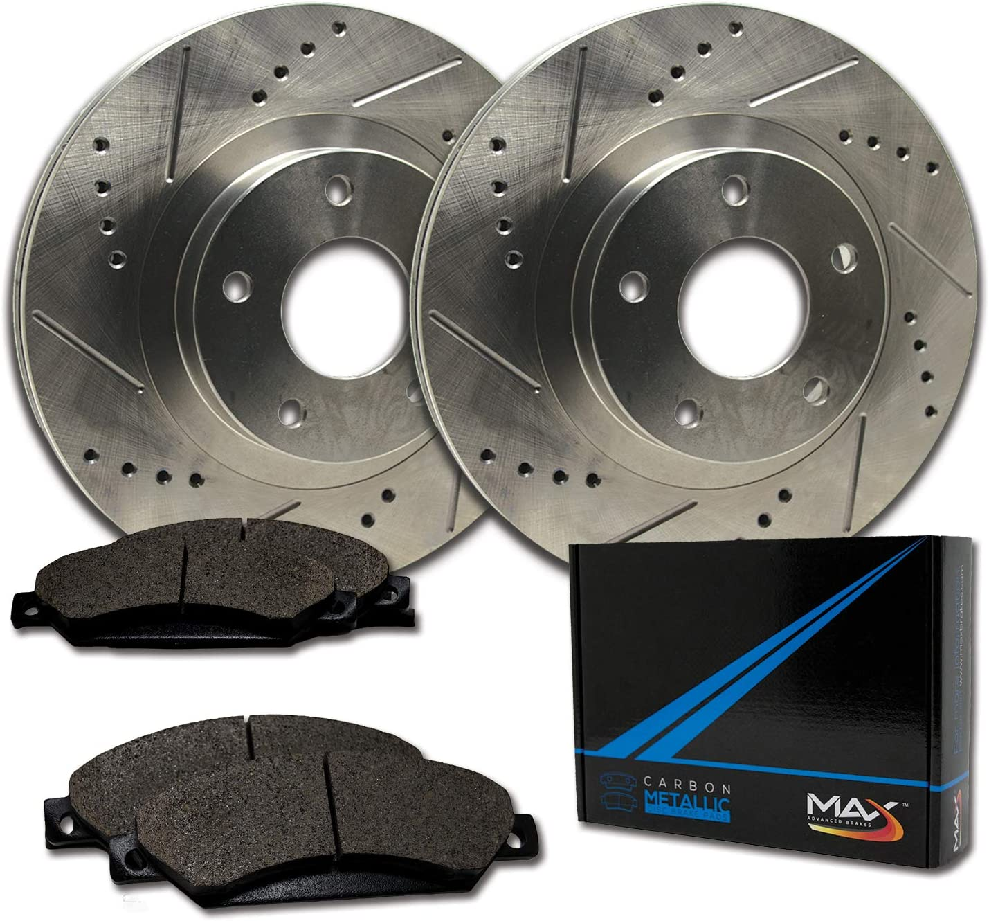Max Brakes Front Performance Brake Kit TA062031 Premium Slotted Drilled Rotors + Metallic Pads Fits: 2011 11 2012 12 Ford Fusion