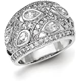 Argent Sterling poli Rhodium plaqué CZ Bague Taille N 1/2–JewelryWeb