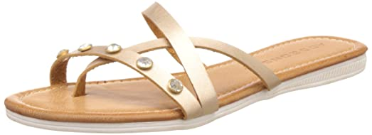Addons Women's Gold Flip-Flops and House Slippers - 4 UK/India (37 EU) Flip-Flops & House Slippers at amazon