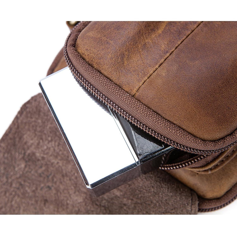 Zhhlinyuan doux Mens Women Unisex Soft Small Zipper Adjustable First Cowhide Leather Crossbody Shoulder Bag Mobile Phone Belt Pouch YkuCSch