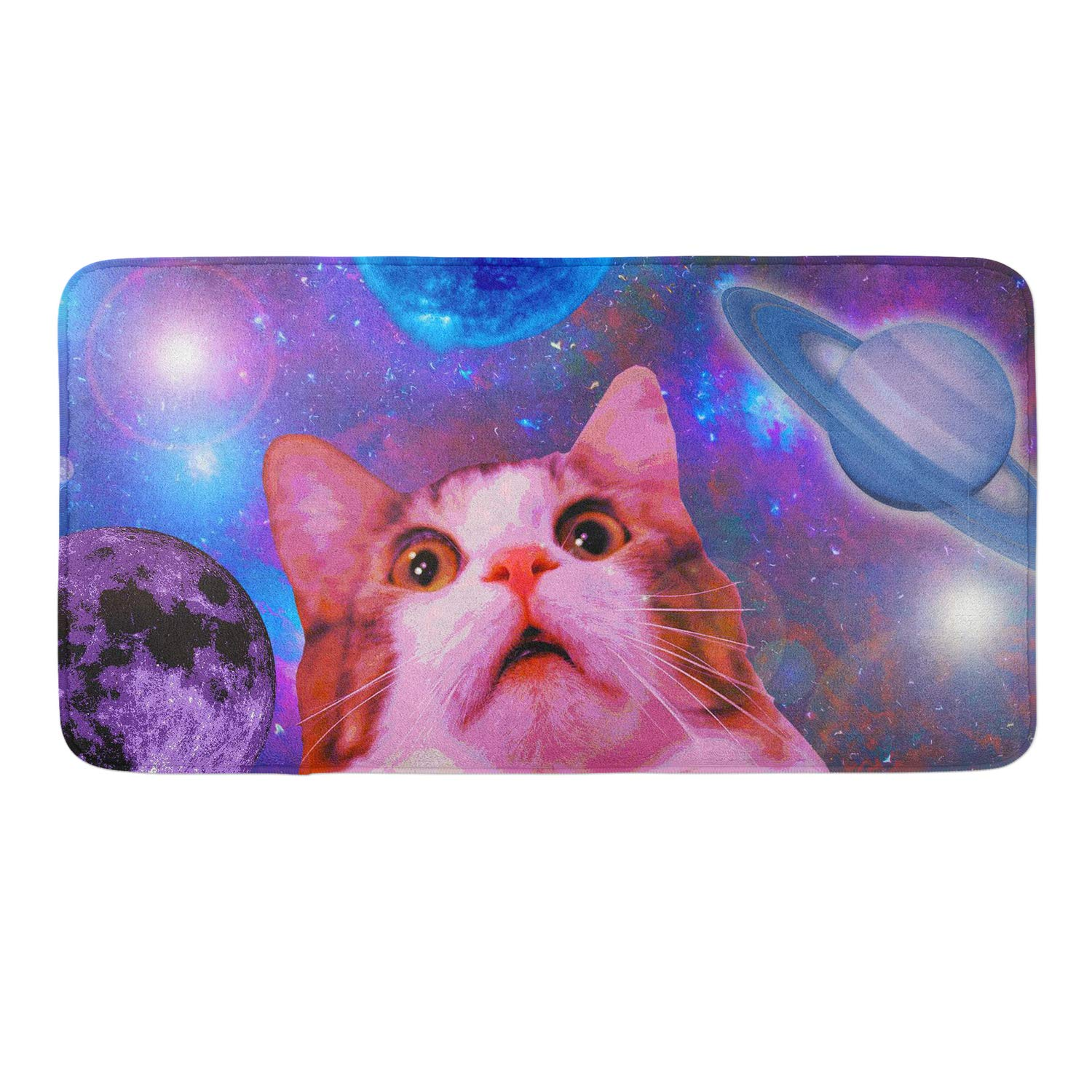 Non-Slip Memory Foam Bath Rugs, 3D Print Space Amazing Cat - 18 x 36 Inch, Extra Absorbent,Soft,Duarable and Quick-Dry Shaggy Rugs