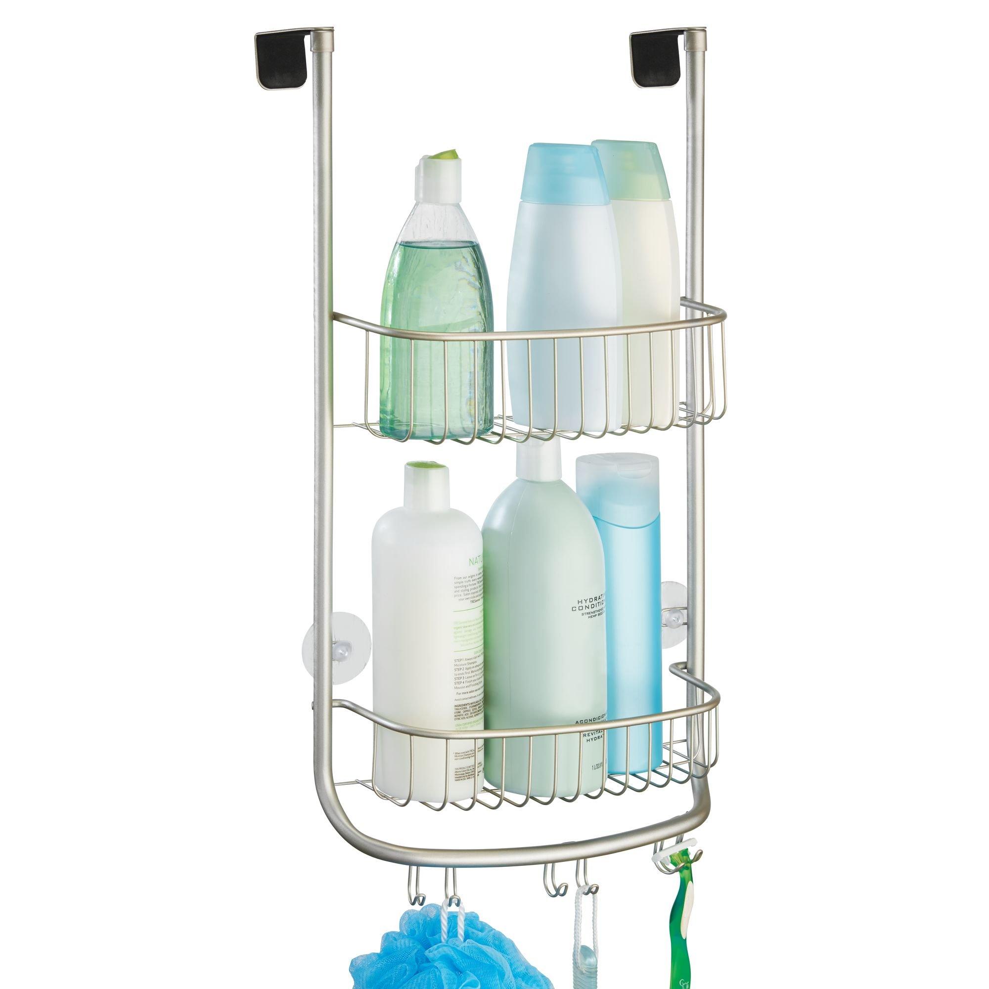 InterDesign Forma Over Door Shower Caddy – Bathroom Storage Shelves for Shampoo, Conditioner and Soap, Satin