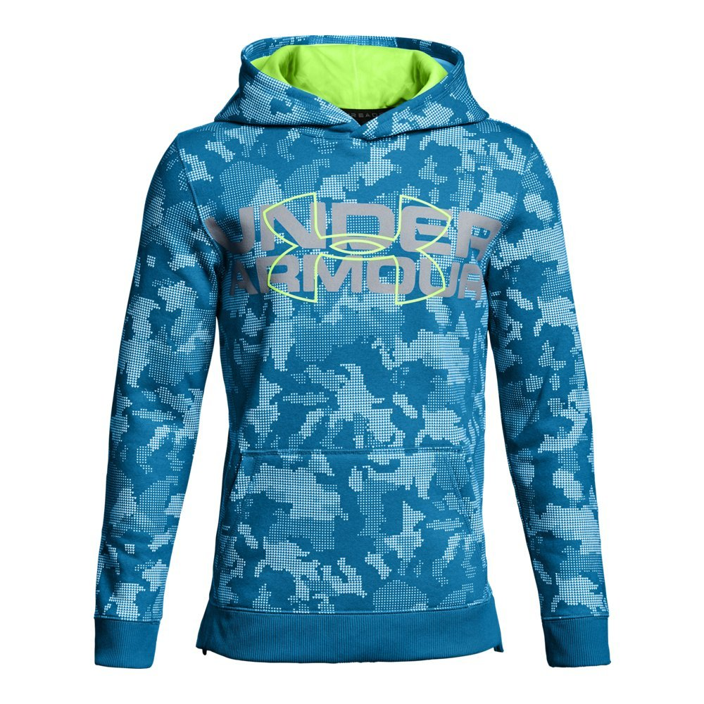 Under Armour Boys' Threadborne Nov Logo Hoodie,Cruise Blue /Quirky Lime, Youth Small by Under Armour