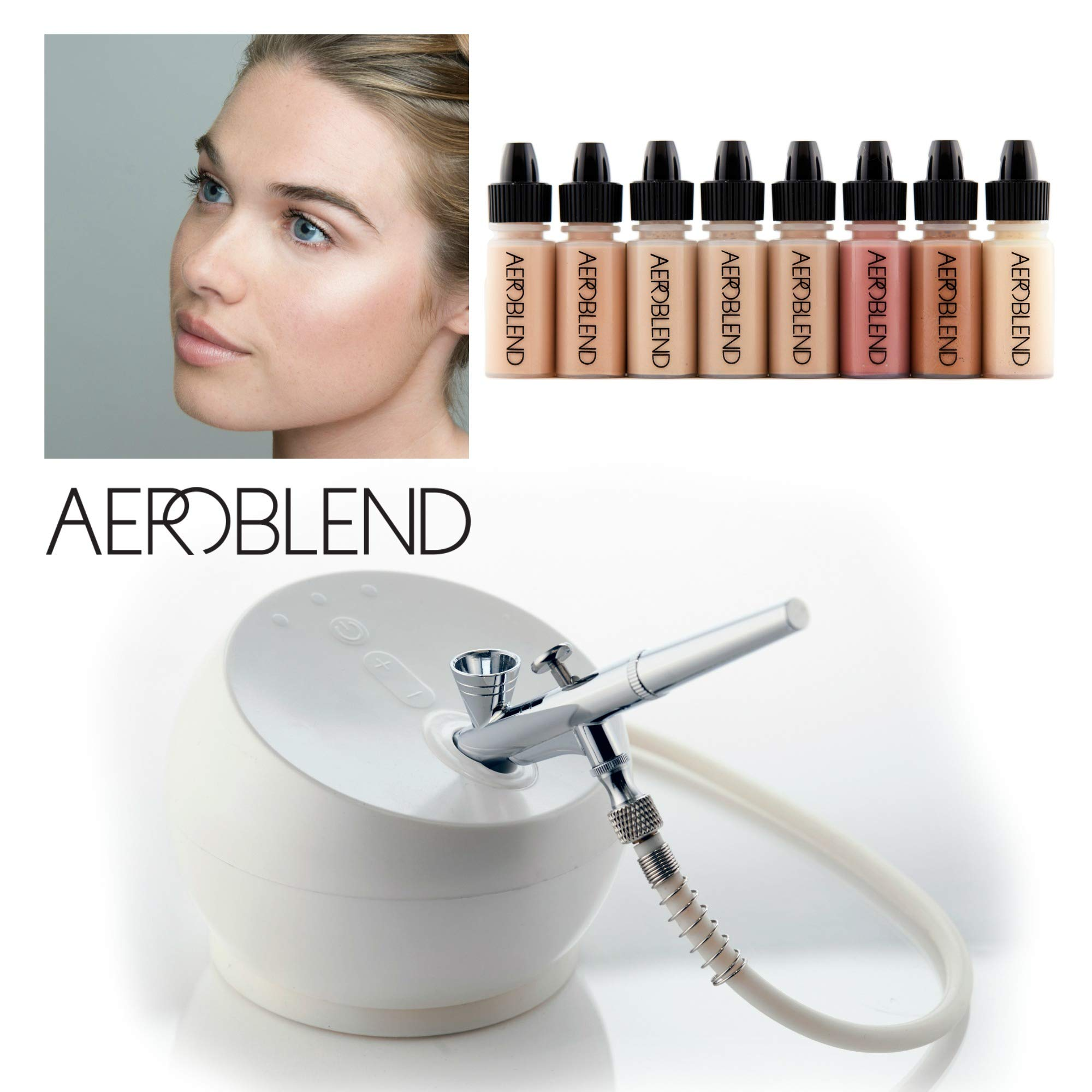 Aeroblend Airbrush Makeup Personal Starter Kit - Professional Cosmetic Airbrush Makeup System - Color Match Guarantee - Full 1-Year Warranty (Medium)