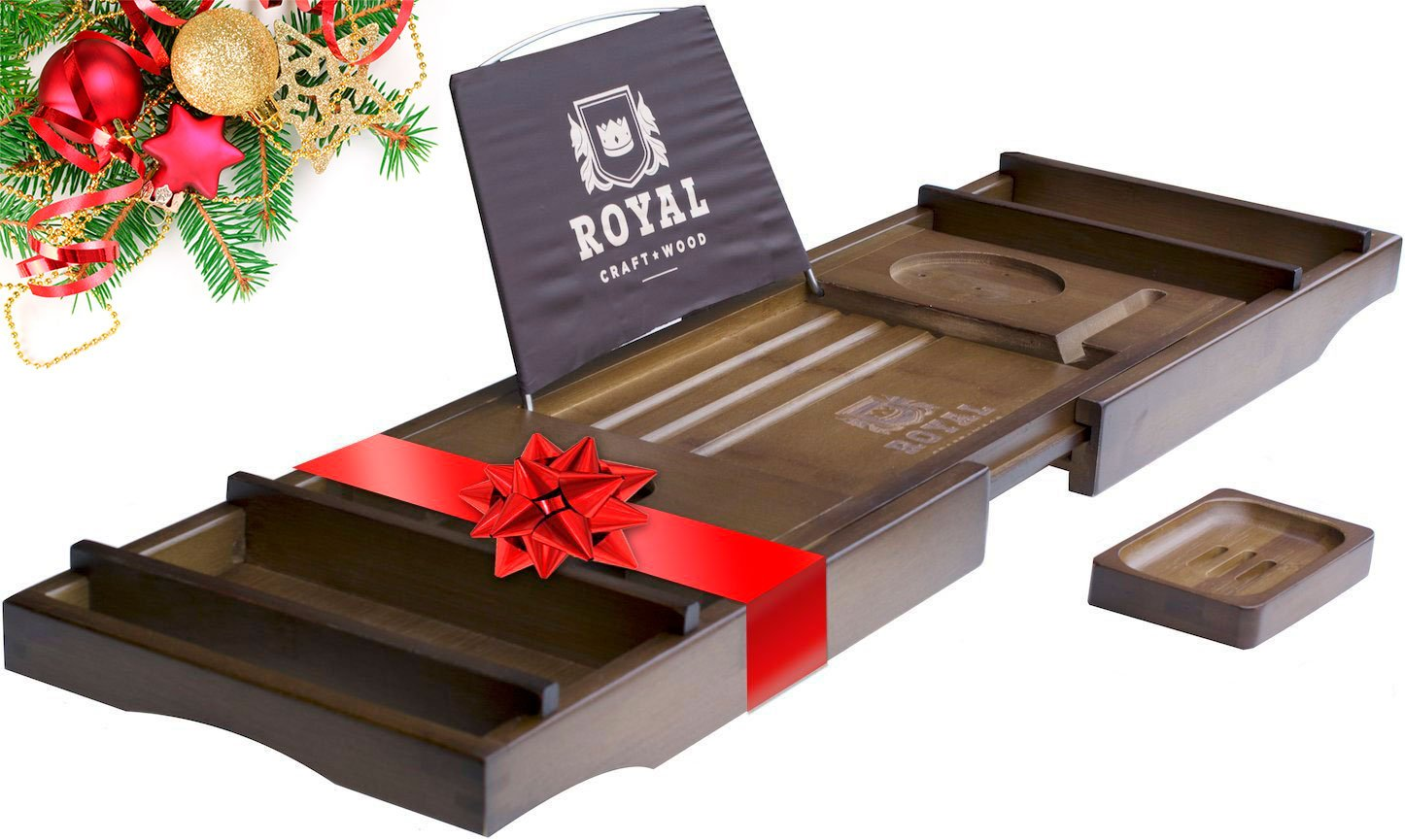 ROYAL CRAFT WOOD Luxury Bamboo Bathtub Caddy Tray, + FREE Soap ...