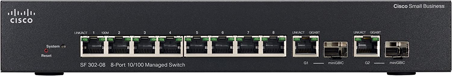SRW208G-K9-NA Cisco Small Business 300 Series SF302-08 Managed Switch 8-Port 10//100Mbps
