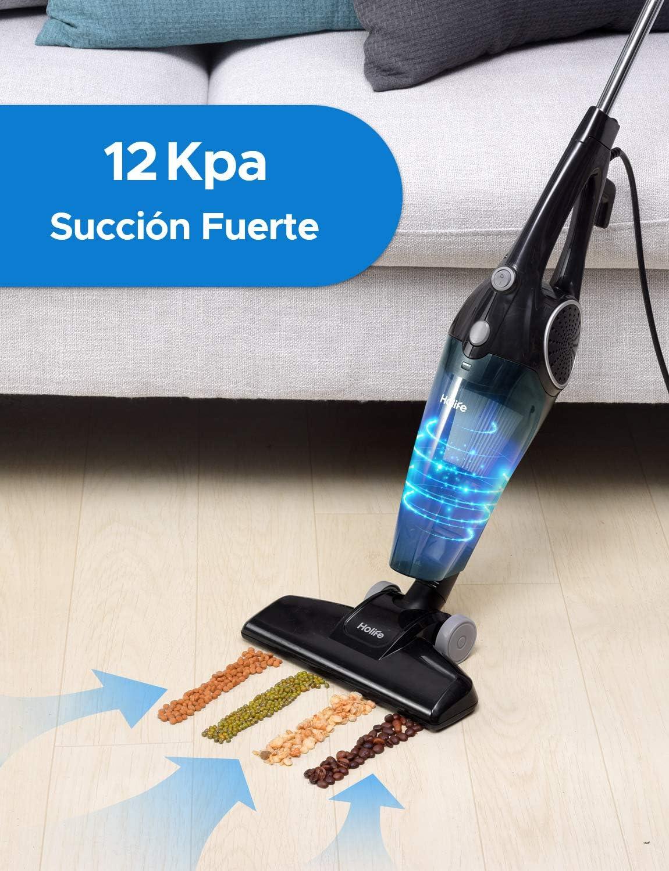 Holife Aspiradora Escoba de 12Kpa, Aspirador Vertical 2 en 1, 800ml, con 2 Filtros HEPA Lavables y 3 Cepillos, Vertical y Portátil Ajustable [Clase de eficiencia energética A+] (Negro): Amazon.es: Hogar