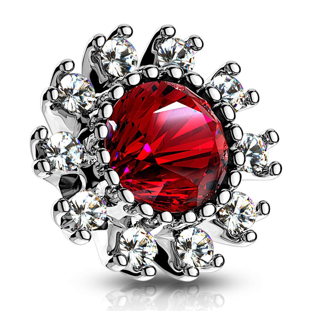Covet Jewelry CZ Surround Double Tiered Round CZ Centered Internal Threaded Dermal Anchor Tops (Silver/Red)