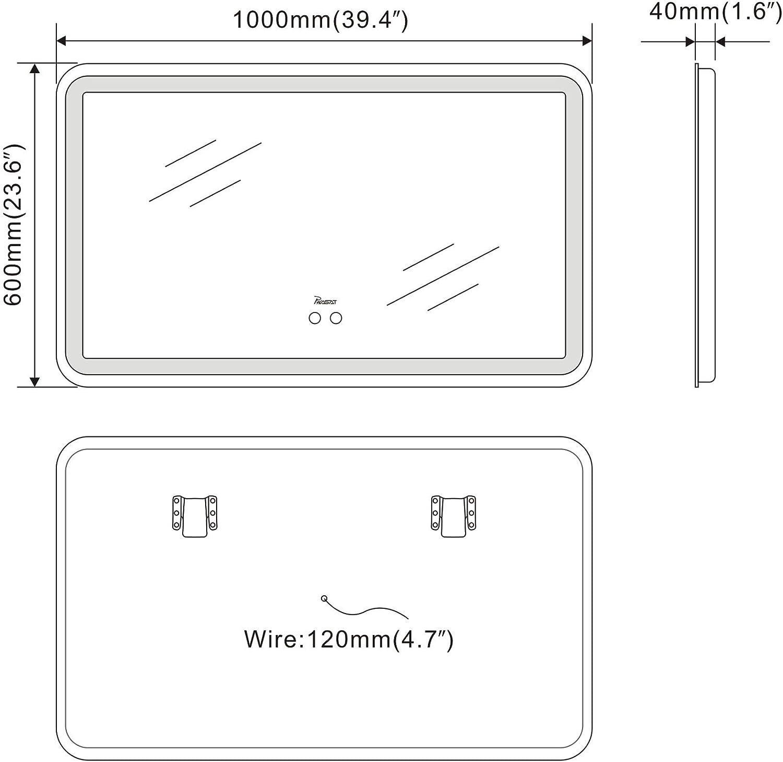 PHASAT 31.5 Inch LED Light Round Wall-Mounted Bathroom Mirror,Anti-Fog,Waterproof PTMY01U