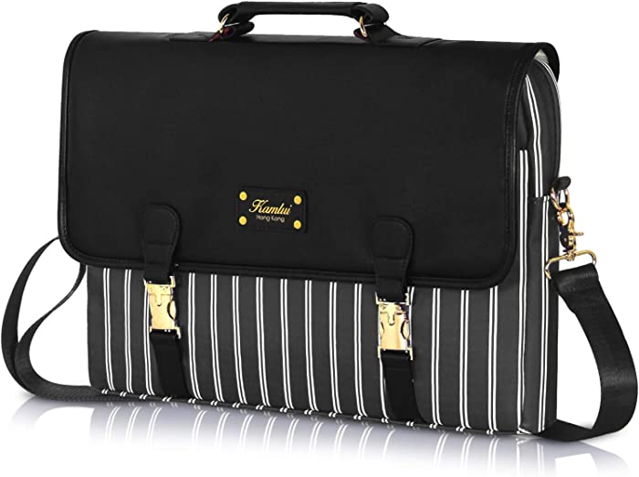 Kamlui 15.6 inch Laptop Bag - for Women PU Waterproof Computer Laptop Case Shoulder Messenger Macbook Pro Air (Black)