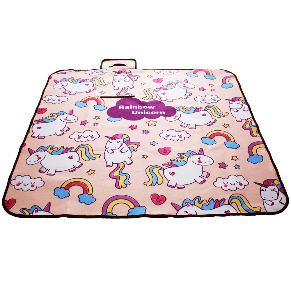 Missley Unicorn Picnic Outdoor Blanket with Water- Resistant Backing Unicorn