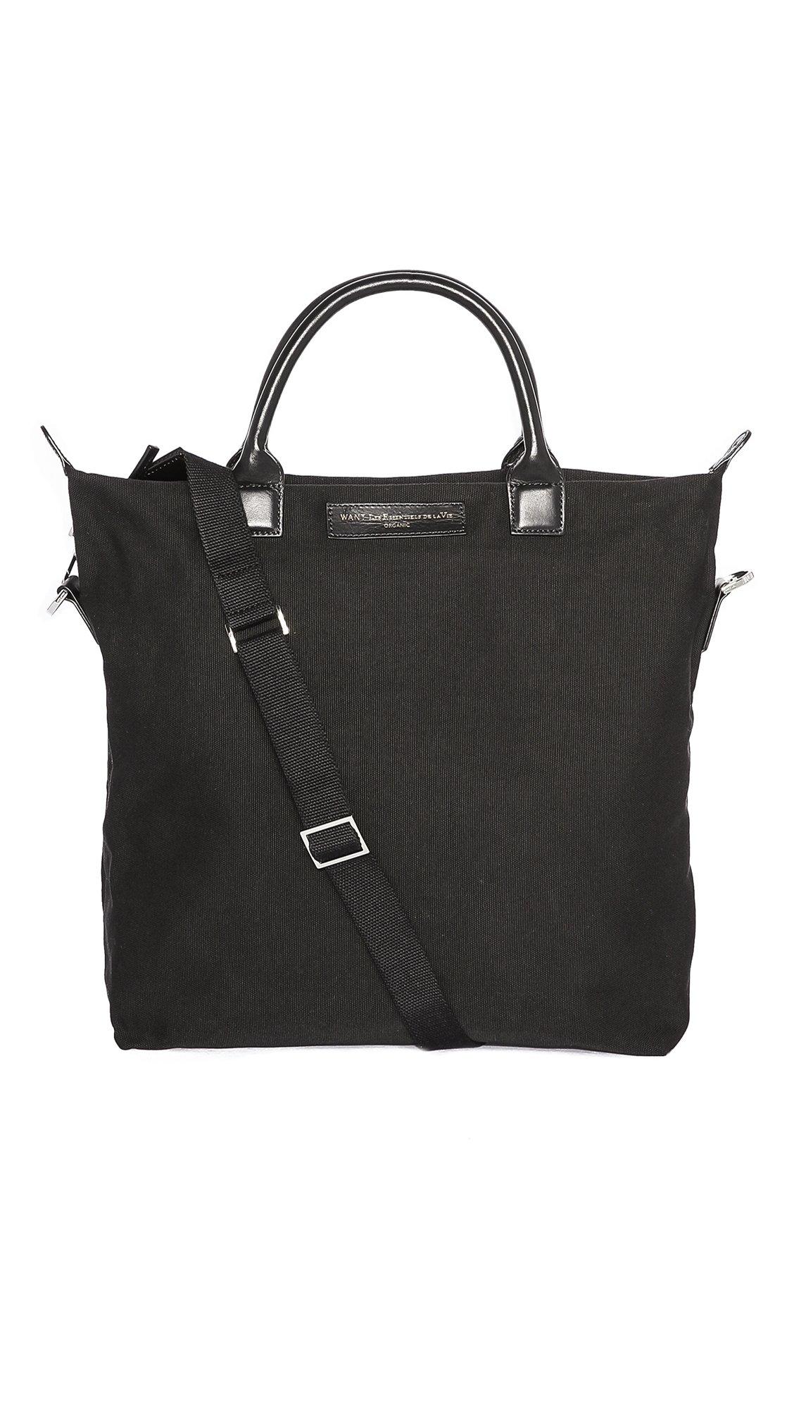WANT Les Essentiels Men's O'Hare Canvas Shopper Tote, Black/Black, One Size