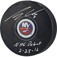 """$69 » Ryan Pulock New York Islanders Autographed Hockey Puck with""""NHL Debut 2/28/16"""" Inscription - Autographed NHL Pucks"""