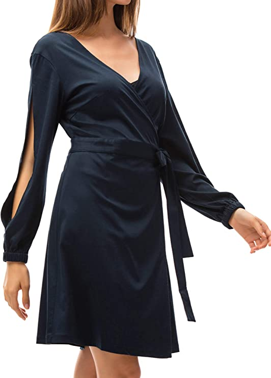 Free Amazon Promo Code 2020 for Womens V Neck Wrap Dresses Sexy Cross Short Dress