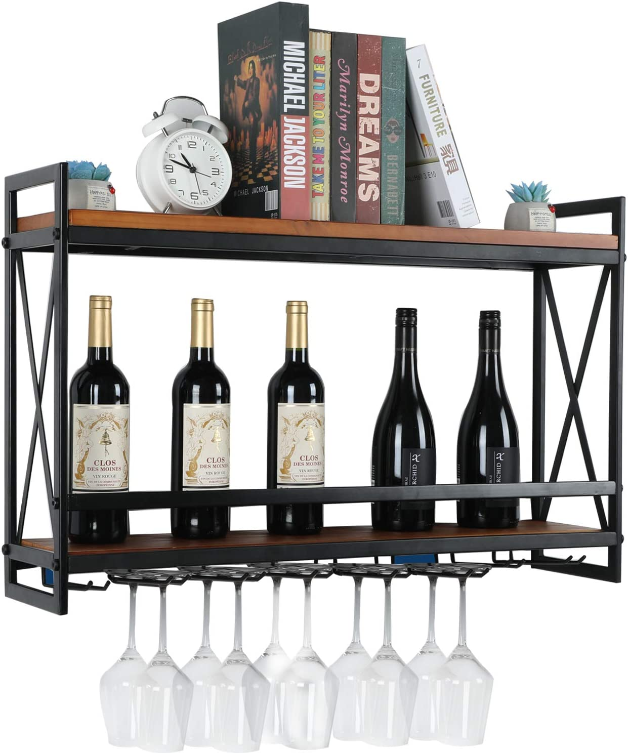 "Wall Mounted Wine Rack with 8 Stem Glass Holders, Industrial Hanging Wine Rack 2-Tier Wooden Shelf, Wine Bottle Stemware Glass Rack for Kitchen, Bar or Home (31.5''L x 7.87""W x 21.2""H)"