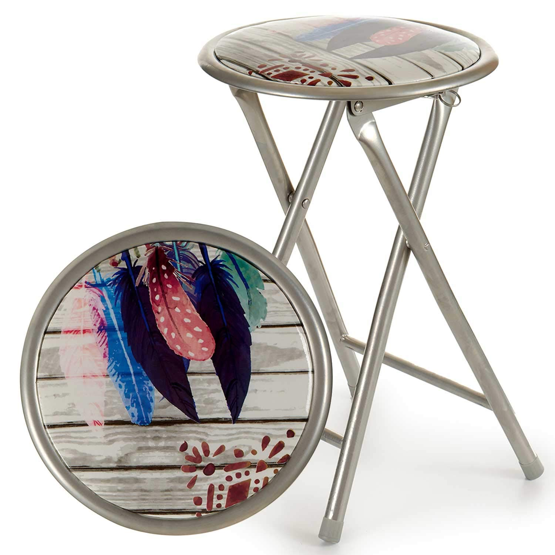 TENDENCIA ÚNICA Taburete Plegable de Acero. con Asiento Acolchado. Incluye Tacos en Las Patas Antideslizantes. Muy Ligera y fácil de Transportar. Las Medidas de Las sillas Son; 45x44x80 cm (Gris)