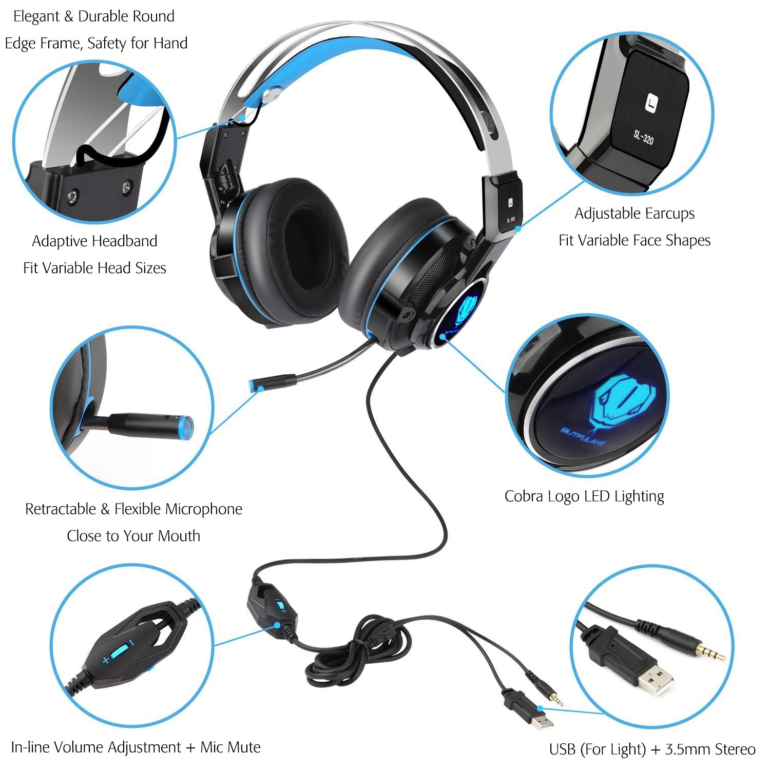 Amazon.com: SL-320 Stereo Gaming PS4 Headset with Retractable Mic ...