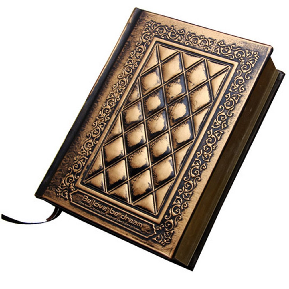 Medium A5 Hardcover Notebook Handmade Embossed Antique Blank Diary with Marker Ribbon (Black-gold)