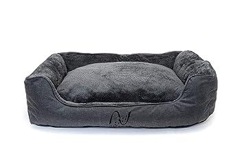 Happilax Cama Perro Grande Lavable con Almohada de Felpa Reversible, Talla L