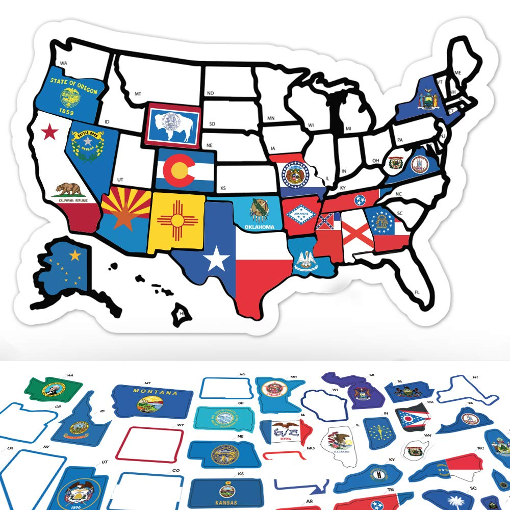 RV State Sticker Travel Map - 11'' x 17'' - USA States Visited Decal - United States Non Magnet Road Trip Window Stickers - Trailer Supplies & Accessories - Exterior or Interior Motorhome Wall Decals by Lushleaf Designs