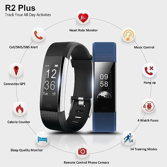 Reloj Podómetros Gps Tracker,Pulsera Fitness Tracker Ip67 Impermeable Sport Pulsera Inteligente - Medición De La Frecuencia Cardíaca / 14 Modo ...