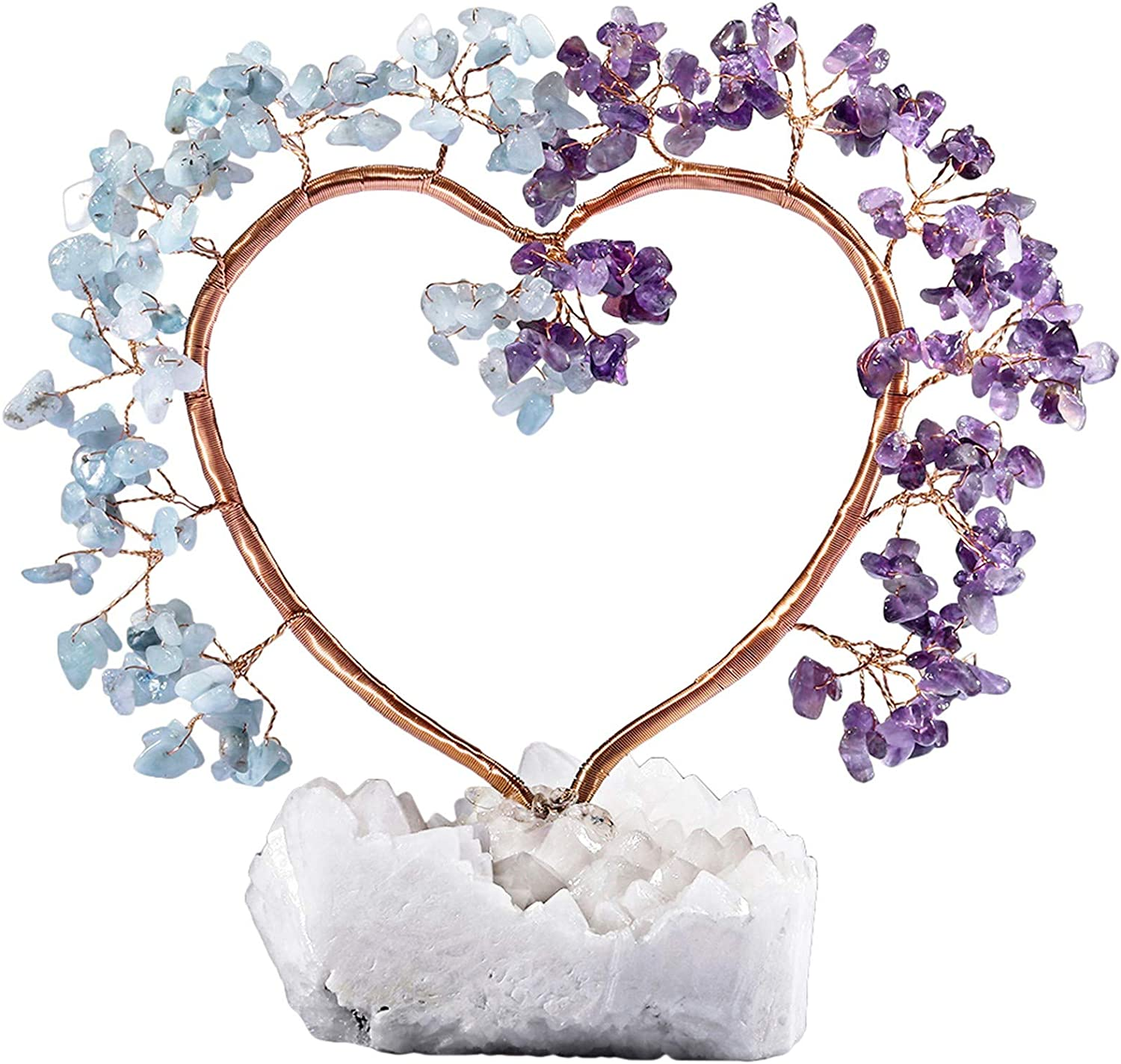 rockcloud Handmade Love Heart Shape Crystal Money Tree with Natural Rock Quartz Geode Base for Wedding Home Office Decor for Wealth and Luck, Amethyst & Aquamarine