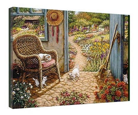 Ufficio In Legno Da Giardino : Leequeen quadro su tela da parete arte il tagliere in legno