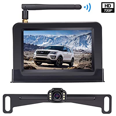 HD Wireless Backup Camera with 4.3 Inch TFT Monitor Kit, Stable Signal Transmission Rear/Front View Camera Suitable for Cars, Vans, SUVs, Pickups IP69K Waterproof Guide Lines On/Off : Camera & Photo