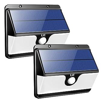 LE Lámpara LED Solar con Sensor Exteriores, 30 LED, Batería 2200mAh, 2 modos
