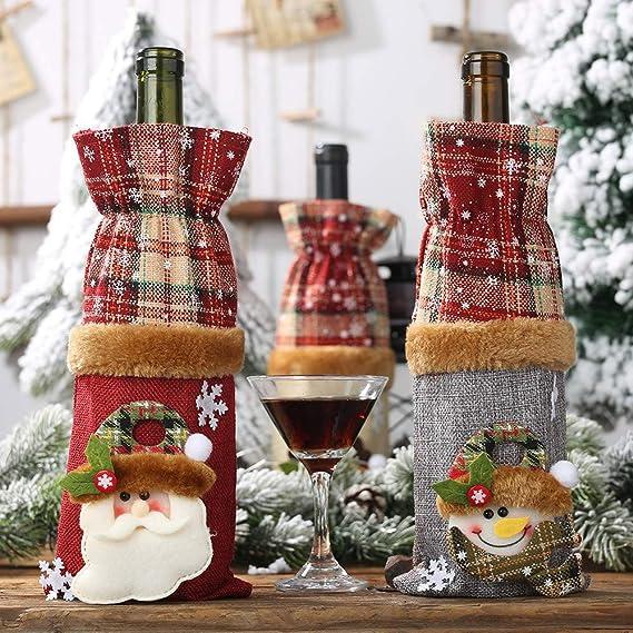 Amhomely - Juego de botellas de vino decorativas para Navidad ...
