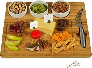 Picnic at Ascot Bamboo Cutting Board for Cheese & Charcuterie - includes 3 Ceramic Bowls, Cheese Knife & Cheese Markers - Patent Pending - Designed & Quality Checked in the USA