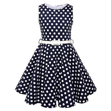 01cdc03d3 Girls Vintage Swing Dress with Belt Audrey Hepburn 1950s Style (Blue Polka  Dot,Size